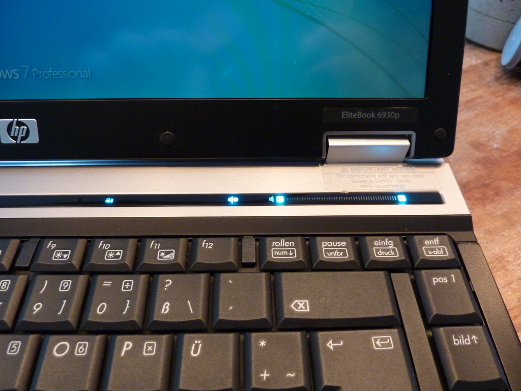 HP EliteBook 6930p volume slider