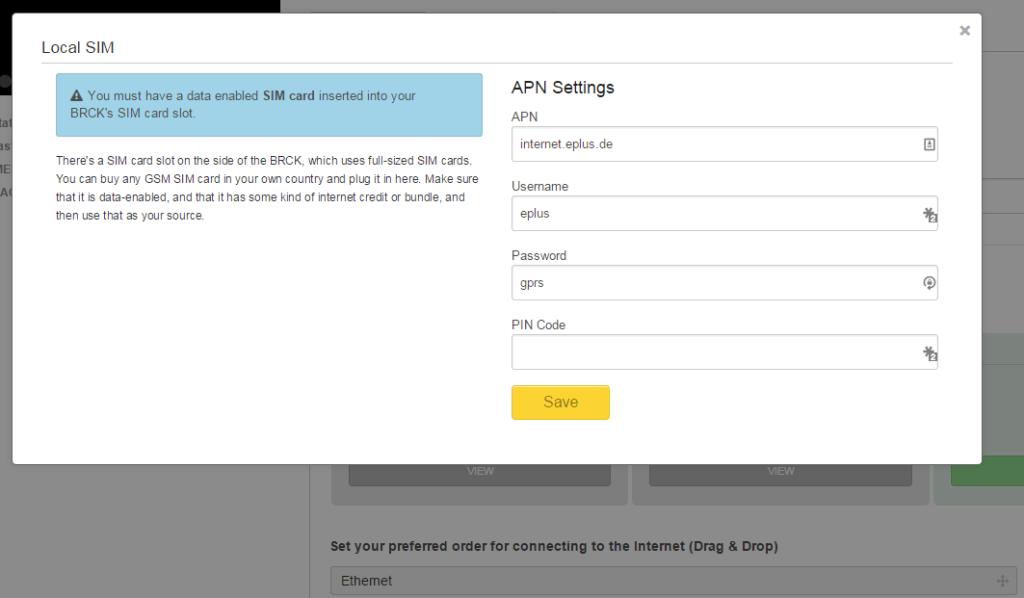 """Beim Klick auf """"View"""" (unterhalb der jeweiligen Verbindungsart) öffnet sich ein Overlay-Fenster für die APN-Einstellungen."""